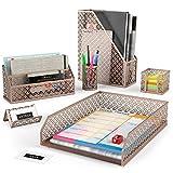Arteza Organizadores de escritorio en color rosa dorado | 6 accesorios | Portalápices, clasificador de cartas, bandeja de correo, revistero, tarjetero y porta-posits | Ideal para el hogar y la oficina