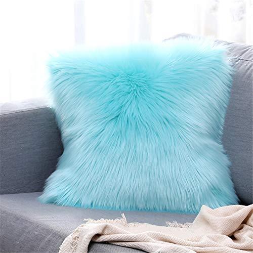 Sweetwill Federe decorative per cuscino in pelliccia di pecora,pelliccia sintetica,capelli lunghi,cuscino decorativo, cuscino per divano Cuddly,Azzurro, 50 x 50 cm