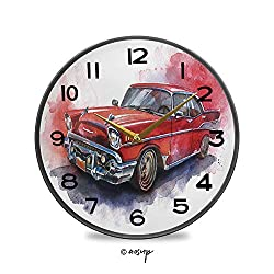 AngelDOU Non-Ticking Acrylic Decorative Round Wall Clock Hand Drawn Old Fashioned Car Antique Vehicle Retro Outdated Abstract Vintage Rustic Country Tuscan Style Home Decor Round Wall Clock 11.9