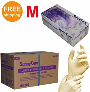 1000/cs Latex Disposable Gloves Powder Free -Size Medium 100pcs/box ; 10 Boxex/case