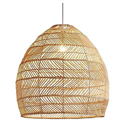 HSLJ1 Lámpara estilo pastoral natural pendiente de la luz de ratán tejido a mano de la lámpara retro rústico techo bajo E27 colgantes accesorios de la linterna for el café del restaurante Habitación R