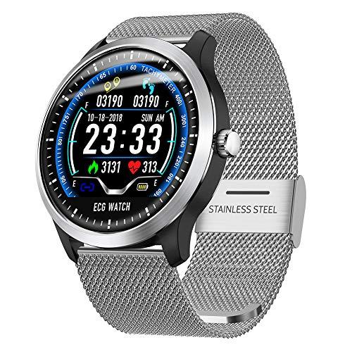 RONSHIN Top N58 Smart Watch Sports Bracelet PPG ECG HRV Report Heart Rate Blood Pressure Test Monitor Pedometer Silver Steel