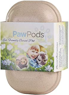 Paw Pods Pet Casket | Biodegradable Pet Grave Pod with Sympathy Card and Seeded Leaf | Plant The Seed for A Living Memorial Pet Grave Marker