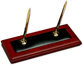 Dacasso Rosewood and Leather Double Pen Stand