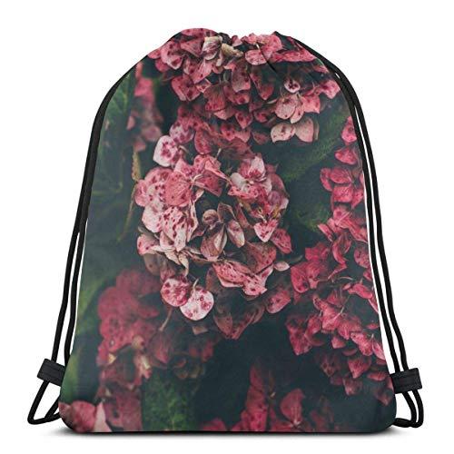 Bingyingne Zaino con coulisse per fiori di ortensia rossa Sacca da palestra Borsa a tracolla Cinch Bag