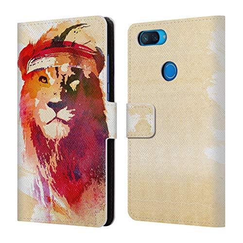 Head Case Designs Officiel Robert Farkas Lion De Gymnastique Animaux Coque en Cuir à Portefeuille Compatible avec Xiaomi Mi 8 Lite/Mi 8X