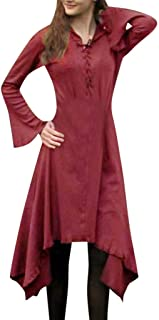 LENXH Fashion Dress Ladies Long Sleeve Skirt Lace Dress Retro Dress Solid Color Dress Casual Beach Skirt