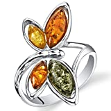 Baltic Amber Butterfly Ring Sterling Silver Cognac Color Multiple Colors Size 7