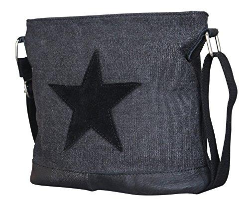 Damen Stern Handtasche Schultasche Clutch TOP TREND Tragetasche (Schwarz Modell 3)