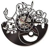 AGGG Saat Wandklok Pokemon pépinière décorative Horloge Murale Design Dessin animé Pikachu Disque Vinyle horloges Montre décor à la Maison