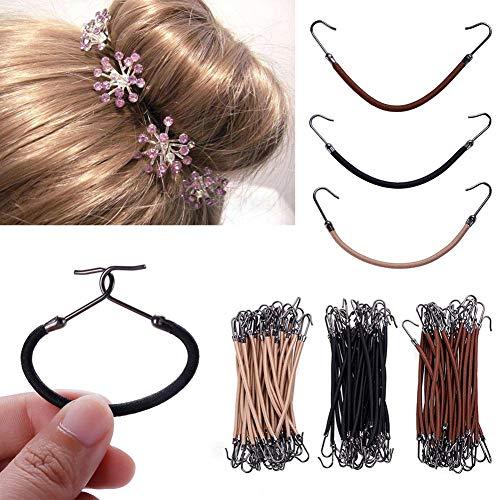 Rungao 30 Stück Haargummi Haarbänder mit Haken Pferdeschwanz Clip Gummi Zöpfe 3 Farbe Haarschmuck für Damen
