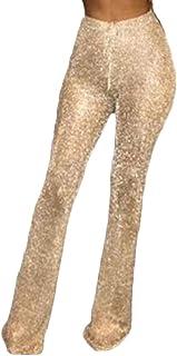 WSPLYSPJY Women's Glitter Elastic Waist Flared Stretch Bell Bottom Palazzo Pants