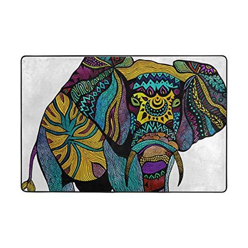 FANTAZIO Fantasio Teppiche mit Elefantenmotiv, gerade, für Ecken und Kanten, ideal für Küche/Badezimmer, Polyester, 1, 72 x 48 inch