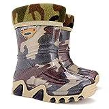 demar. - Botas de agua para niños / botas de lluvia / zapatos de jardín - estampado Stormic, color Marrón, talla 22/23 EU