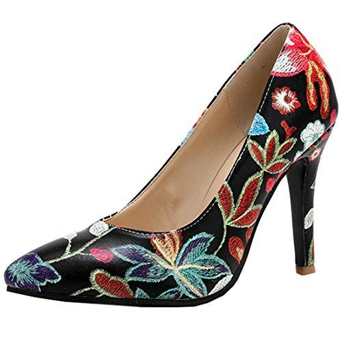 AIMODOR Damen Spitze High Heels Stiletto Pumps Blumenmuster Retro Schuhe schwarz 34
