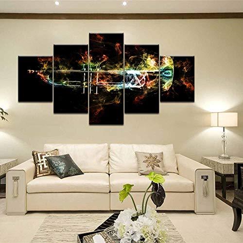 WWMJBH muziekinstrument canvasfoto's muurkunst Hd-druk afbeeldingen 5 stuks abstracte vlammen trompet poster voor woonkamer home decoratieve doek 5 kunstdruk modern 200x100cm
