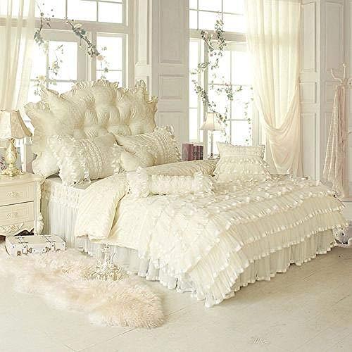 TYDH 4/6/8pcs white pink Jacquard Satin bedding set king queen full twin Tribute Silk quilt/duvet cover bed linen bedclothes s 1 Queen size B 6pcs