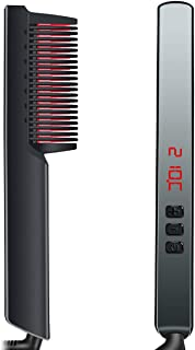 Alisador de barba, peine de alisador de barba rápido para hombres, cepillo de alisador de barba eléctrico multifuncional 3 en 1, alisador de cerámica de calentamiento rápido de 30 s