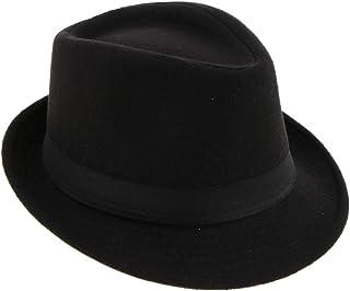 Dolity Stylish Men Ladies Manhattan Structured Ribbon Band Gangster Trilby Wool Fedora Hat Black Gray