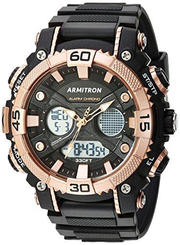 Armitron Sport Relógio masculino 20/5108 Analógico-Digital com pulseira de resina, Preto/ouro rosa