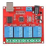 Módulo de relé, módulo de Interruptor Inteligente USB de computadora de 4 Canales y 12 V, Controlador de Interruptor de relé de PC Placa de expansión del módulo de relé de PC