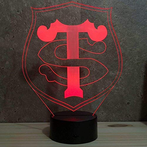 Lampe illusion rugby Toulouse 16 couleurs RGB personnalisable - Fabriquée en France - Lampe de table - Lampe veilleuse - Lampe d'ambiance