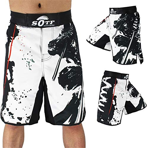 Muay Thai MMA Shorts MMA Pantalones cortos para hombres adultos Liberamiento gratis Muay Thai Fighting Taekwondo Training Ropa de entrenamiento Troncos de boxeo de kick ( Color : White , Size : L )