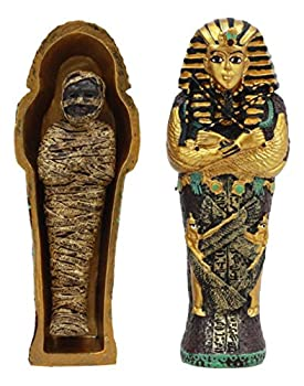 Image: Ebros Egyptian King Tutankhamun Pharaoh Sarcophagus Coffin With Mummy Figurine Set 4inches Long Egyptian Pharaoh Tombstone Historical Sculpture