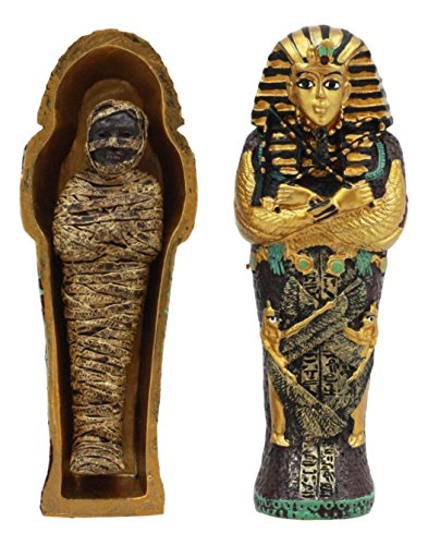 Gifts & Decor Ebros Egyptian King Tutankhamun Pharaoh Sarcophagus Coffin with Mummy Figurine Set 4' Long Egyptian Pharaoh Tombstone Historical Sculpture