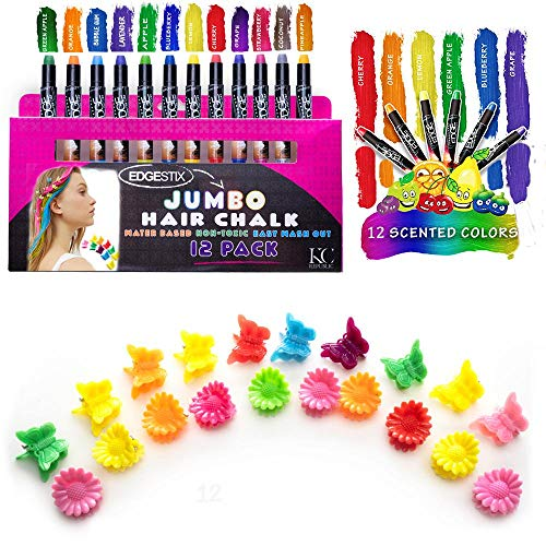 Kids Hair Chalk - JUMBO HAIR CHALK PENS - RAINBOW - Washable Hair Color Safe For Kids And Teen - 200% MORE COLOR PER PEN - SCENTED - For Party, Girls Gift, Kids Toy, Birthday Gift For Girls, 12 Colors