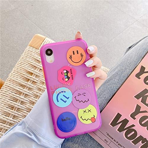 HNZZ Tmrtcgy Caja de teléfono Fluorescente de Patrones de expresión Sonriente Divertida Capa para iPhone 11 12 Pro MAX 7 8 Plus XR XR XR XR XS Tapa de teléfono Suave
