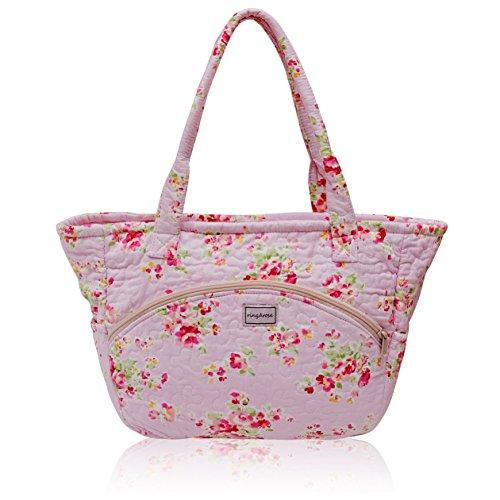 Ringarose trapuntato floreale 100% cotone lavabile in lavatrice con cerniera multi tasca bella borsa a tracolla borsa a mano–Rosie Posie