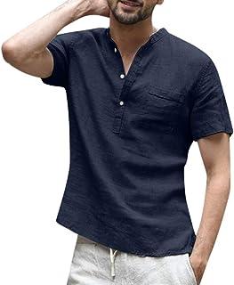 Men Summer Casual T-shirt Tops, Male Baggy Cotton Linen Solid Short Sleeve Tee Shirt Blouse Tops