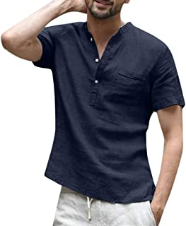 Men's Baggy Cotton Linen Shirts Solid Short Sleeve Retro T Shirts Pocket Casual Button Tops