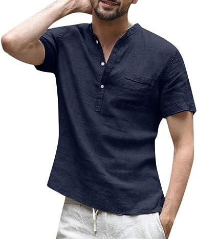 Camiseta para Hombre,Verano Algodón y Lino Manga Corta Color sólido Moda Casual Suelto T-Shirt Blusas Camisas Camiseta Cuello Redondo Suave básica ...