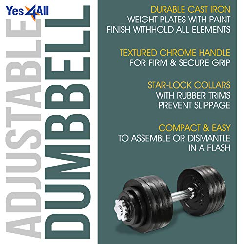 Product Image 4: Yes4All Adjustable Dumbbells – 52.5 lb Dumbbell Weights (Single)