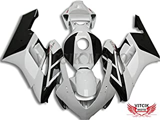 VITCIK (Fairing Kits Fit for Honda CBR1000RR 2004 2005 CBR1000 RR 04 05) Plastic ABS Injection Mold Complete Motorcycle Body Aftermarket Bodywork Frame (White & Black) A131