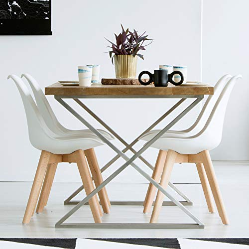 VADIM 4er Set Esszimmerstühle Skandinavischer Küchenstuhl in Weißen mit Massivholz Buche Bein Kunstlederkissen, Design Modern Wohnzimmerstühle, Esszimmer Holzbeine Stühle, Bürostühle