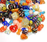 40stk Millefiori Perlen Perlenmischung Bunte Set Glasperlen Mix Form Perle zum Auffädeln Kinder Schmuckperlen R194