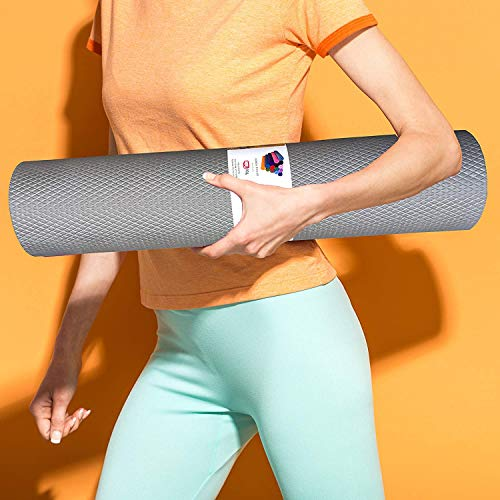 HNESS 10 mm Anti Skid Thick Yoga and Exercise Mat with Carrying Bag (Medium Size)