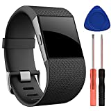 QGHXO Band for Fitbit Surge, Soft Silicone Adjustable Replacement Strap with Metal Buckle Clasp for Fitbit Surge (No Tracker)