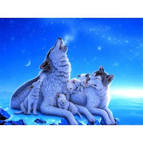 Rompecabezas de 2000 piezas para adultos - Familia de lobos bajo el cielo azul con póster - Rompecabezas para adultos de 2000 o rompecabezas - Rompecabezas de 2000 piezas para adultos 2000 piezas - R