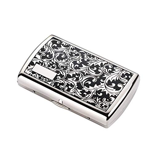 ASDFY Caja de Cigarrillos Impresa Retro Caja de Cigarrillos de Metal Caja de Cigarrillos pequeña de Bolsillo Abierto de Doble Cara para 12 Cigarrillos