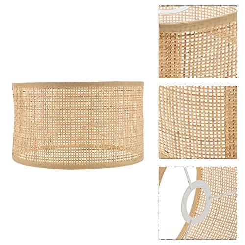 huixuan Pantalla de estilo rústico, pantalla de ratán, tela de ratán, para colgar en la lámpara (color: 3, tamaño: 24 x 24 x 14 cm)