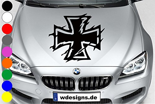 wDesigns Autoaufkleber EISERNES Kreuz Iron Cross Aufkleber Motorhaube Sticker Heckscheibe
