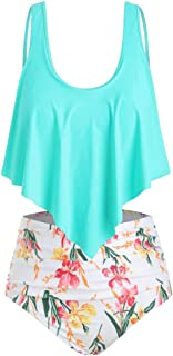 Wiwsi Floral Bikini Women High-Waisted Swimsuit Girl Beach Bathing Suit Swimwear