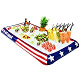 Patriotic Inflatable Buffet Cooler for Indoor/Outdoor, Red White and Blue Blow Up Cooling Tub For Serving Buffet Style Picnic