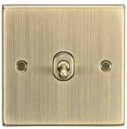 Knightsbridge CSTOG1AB - Interruptor de palanca de 2 vías (latón envejecido, 10 A, 1 G, borde cuadrado)