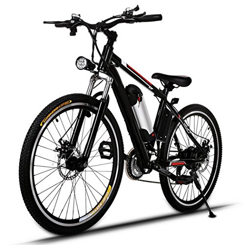AMDirect Biciclette Elettrico Mountain Bike E-Bike 26 Pollici 21 Sistema di Trasmissione Velocità con Torcia Elettrica con Batteria al Litio Staccabile 250W 36V 8Ah, Nero