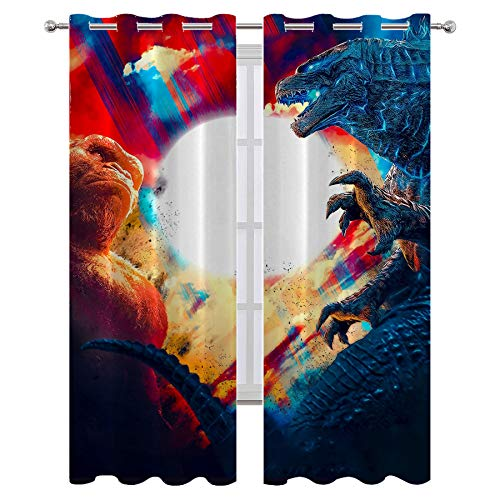SSKJTC Insulated Blocking Drape for Bedroom and Apartments Godzilla Vs King Kong Movies Poster Decorative Curtains for Hotel Quality W55xL63 Inch